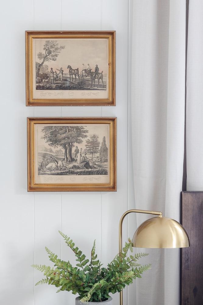 vintage brass framed wall art