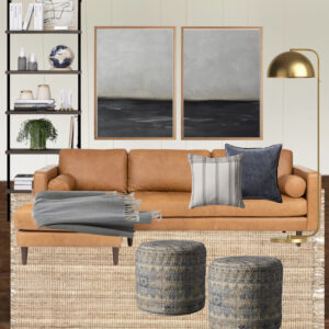 living room design board leather couch jute rug white walls and coastal art